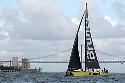 November 3, 2017 - Lisbon, Portugal - Team Brunel captained by Dutch Bouwe Bekking in action during the Volvo Ocean Race 2017-2018 In-port Race at the Tagus River in Lisbon, Portugal on November 3, 2017. Team Brunel won the in-port race. (Credit Image: © Pedro Fiuza/NurPhoto via ZUMA Press)