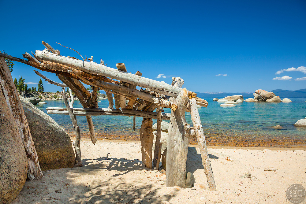 """Stick Shelter at Lake Tahoe"" - This little shelter made of driftwood and sticks was photographed at Whale Beach on the East shore of Lake Tahoe."