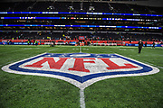 The NFL symbol on the centre field of the Tottenham Stadium pitch during the International Series match between Tampa Bay Buccaneers and Carolina Panthers at Tottenham Hotspur Stadium, London, United Kingdom on 13 October 2019.