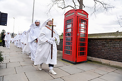 © Licensed to London News Pictures. 21/03/2017. London, UK. Druids celebrate the arrival of the Spring Equinox outside the Tower of London. Photo credit : Stephen Chung/LNP