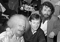 Barney McKenna(R) and Eamonn Campbell(L) of The Dubliners at the reception in Guinness Storehouse to launch the film The Dubliner's Dublin, circa October 1988 (Part of the Independent Newspapers Ireland/NLI Collection).