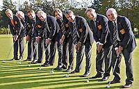 TILBURG - Het Nederlands Team Senioren, dat op het ELTK in Portugal  als tweede eindigde. Het team bestaat uit Bart Nolte, Rolf Esser, Guus Roels, Pem van Heek, Jart Sluiter en Henk Jansen, met captain Franklin Chabot en trainer Hans Berkhout .FOTO KOEN SUYK