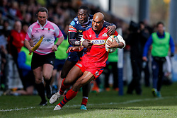 Bristol Rugby Winger Tom Varndell is tackled by Doncaster Knights Winger Tyson Lewis - Mandatory byline: Rogan Thomson/JMP - 27/03/2016 - RUGBY UNION - Castle Park - Doncaster, England - Doncaster Knights v Bristol Rugby - Greene King IPA Championship.