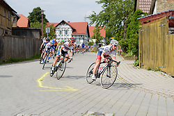 Emma Pooley and Ashleigh Moolman Pasio speed through the winding village street at Thüringen Rundfarht 2016 - Stage 2 a 103km road race starting and finishing in Erfurt, Germany on 16th July 2016.