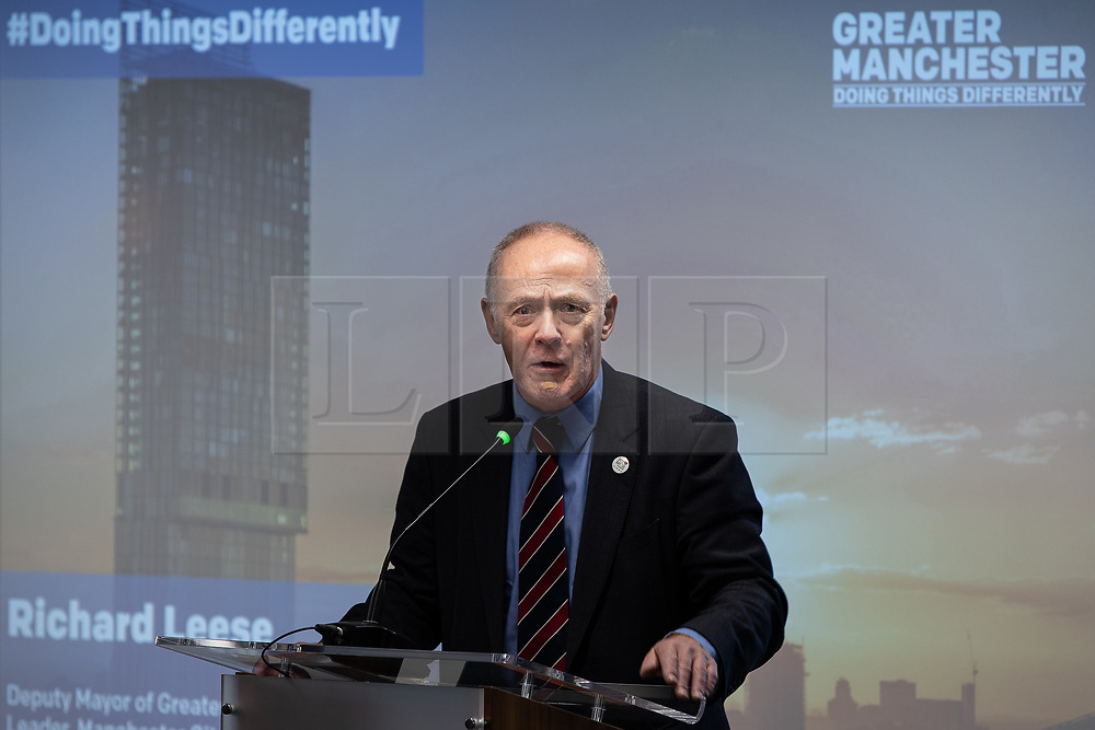 "© Licensed to London News Pictures. 07/01/2019. Manchester, UK. SIR RICHARD LEESE , Deputy Mayor and Leader of Manchester City Council . The Metro Mayor of Greater Manchester Andy Burnham announces a revised plan for new housing (some on greenbelt land) , transport infrastructure , the reduction of pollution and improvements to the environment across the North West , alongside the regeneration of Stockport Town Centre , at an event at etc Venues in Manchester City Centre . The new "" Spatial Framework "" also reaffirms the region's commitment to ban fracking and lists 50,000 new "" affordable "" homes (30,000 of which are specified as social housing) . Photo credit: Joel Goodman/LNP"