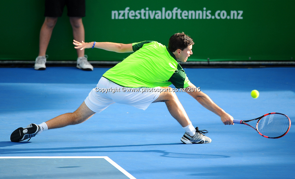 Austrian player Dominic Thiem during his singles match at the Heineken Open. ASB Tennis Centre, Auckland, New Zealand. Monday 12 January 2015. Copyright photo: Chris Symes/www.photosport.co.nz