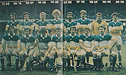 All Ireland Senior Hurling Championship Final, .Galway v Offaly, .06.09.1981, 09.06.1981, 6th September 1981,.Offaly 2-12, Galway 0-15,.06091981AISHCF,..Offaly, back row, Pat Kirwan, Pat Fleury, Joachim Kelly, Pat Delaney, Liam Currams, Eugene Coughlan, Damien Martin, Aidan Fogarty, Front row, Tom Donoghue, Mark Corrigan, Brendan Birmingham, Padraig Horan captain, Ger Coughlan, Pat Carroll, Johnny Flaherty,