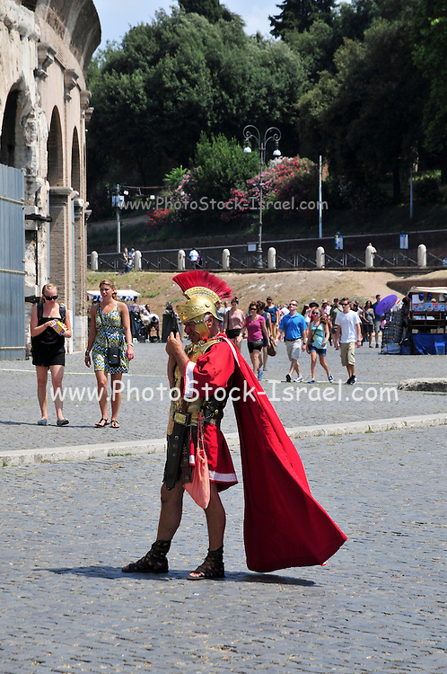 Italy, Rome, Roman soldiers at The Colosseum