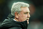 Newcastle United manager Steve Bruce during the Premier League match between Newcastle United and Chelsea at St. James's Park, Newcastle, England on 18 January 2020.