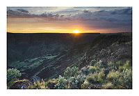 Sunset over Owyhee River Canyon, Oregon