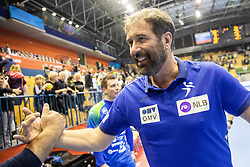 Veselin Vujovic, head coach of Slovenia celebrates after winning during handball match between National teams of Slovenia and Netherlands in Qualifications of 2020 Men's EHF EURO, on April 14, 2019, in Arena Zlatorog, Celje, Slovenia. Photo by Vid Ponikvar / Sportida