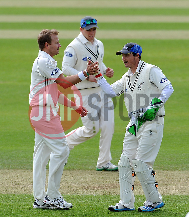 New Zealand's Neil Wagner celebrates the wicket of Somerset's Peter Trego. Photo mandatory by-line: Harry Trump/JMP - Mobile: 07966 386802 - 09/05/15 - SPORT - CRICKET - Somerset v New Zealand - Day 2- The County Ground, Taunton, England.