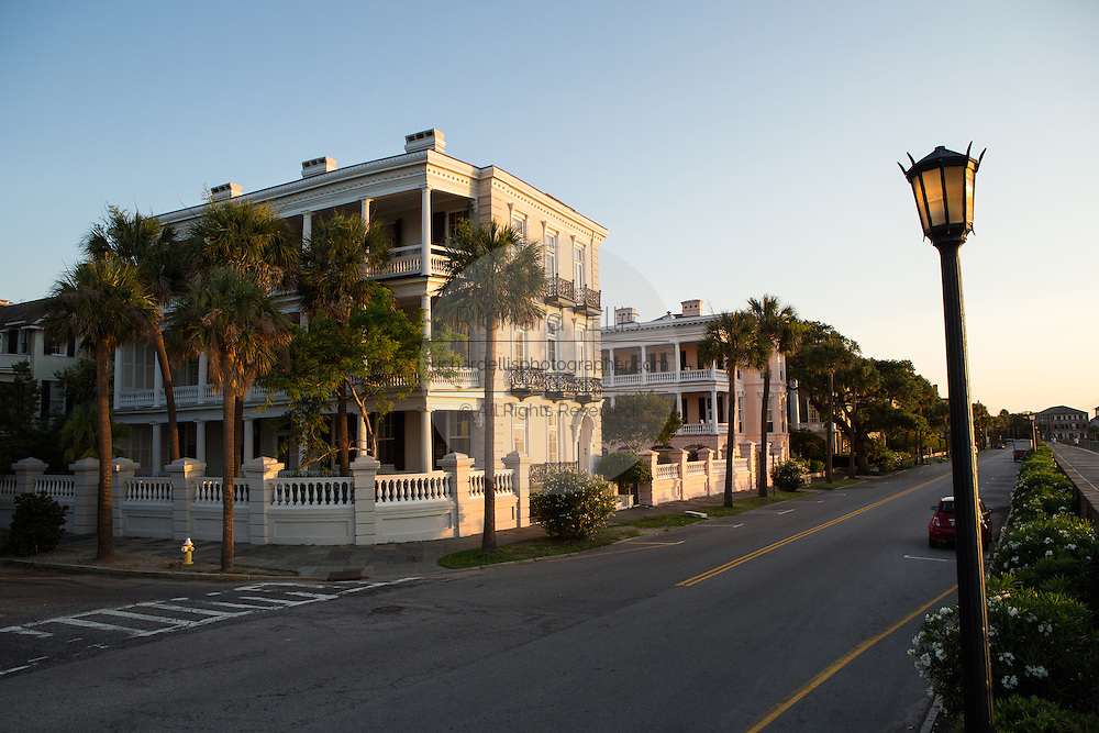 Stately antebellum historic homes along the High Battery in Charleston, SC.