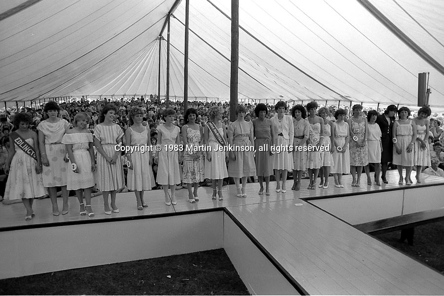 Coal Queen competition. 1983 Yorkshire Miner's Gala. Barnsley