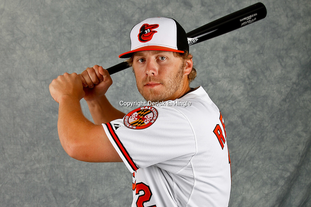 March 1, 2012; Sarasota, FL, USA; Baltimore Orioles third baseman Mark Reynolds (12) poses for a portrait during photo day at the spring training headquarters.  Mandatory Credit: Derick E. Hingle-US PRESSWIRE