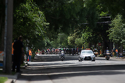 The peloton rides at a high pace during the fourth, 70 km road race stage of the Amgen Tour of California - a stage race in California, United States on May 22, 2016 in Sacramento, CA.