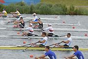 Eton Dorney, Windsor, Great Britain,..2012 London Olympic Regatta, Dorney Lake. Eton Rowing Centre, Berkshire[ Rowing]...Description;  Heat, Men's double Sculls: NZL M2X..Nathan COHEN (b) , Joseph SULLIVAN (s).ITA M2X   Alessio SARTORI (b) , Romano BATTISTI (s).GER.M2X Eric KNITTEL (b) , Stephan KRUEGER (s).AUS.David CRAWSHAY (b) , Scott BRENNAN (s).Dorney Lake..    12:20:06  Tuesday  31/07/2012.[Mandatory Credit: Peter Spurrier/Intersport Images].