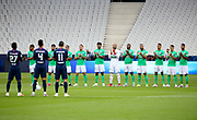 Players of both teams applaud the health workers who are fighting against covid-19 before the French Cup final football match between Paris Saint-Germain (PSG) and Saint-Etienne (ASSE) on Friday 24, 2020 at the Stade de France in Saint-Denis, near Paris, France - Photo Juan Soliz / ProSportsImages / DPPI
