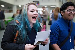 © Licensed to London News Pictures . 20/08/2015 . Salford , UK . ELEANOR SUNDERLAND gets her results . Students at St Patrick's RC High School in Eccles collect their GCSE results . Photo credit : Joel Goodman/LNP