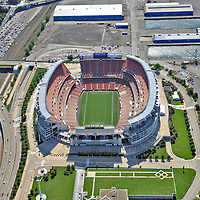 Aerial  view of the  Cleveland Browns Stadium adjacent  to Lake Erie in Downtown Cleveland OH just before the start of the 2009 NFL Season.  (AP Photo/Julia Robertson)