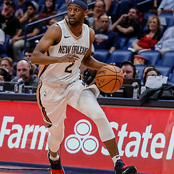 Oct 3, 2017; New Orleans, LA, USA; New Orleans Pelicans guard Ian Clark (2) against the Chicago Bulls during the second half of a NBA preseason game at the Smoothie King Center. The Bulls defeated the Pelicans 113-109. Mandatory Credit: Derick E. Hingle-USA TODAY Sports