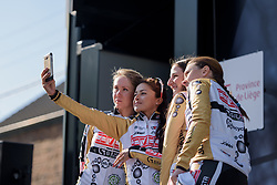 Servetto Giusta take a selfie at La Flèche Wallonne Femmes - a 120 km road race starting and finishing in Huy on April 19 2017 in Liège, Belgium.