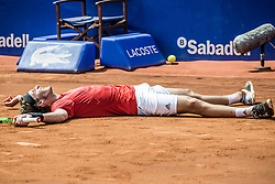 April 28, 2018 - Barcelona, Catalonia, Spain - STEFANOS TSITSIPAS (GRE) celebrates his victory against Pablo Carreno Busta (ESP) in their semi-final of the 'Barcelona Open Banc Sabadell' 2018. Tsitsipas won 7:5, 6:3 (Credit Image: © Matthias Oesterle via ZUMA Wire)
