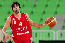 Milos Teodosic of Serbia during friendly basketball match between National teams of Serbia and Croatia of Adecco Ex-Yu Cup 2012 as part of exhibition games 2012, on August 4, 2012, in Arena Stozice, Ljubljana, Slovenia. (Photo by Urban Urbanc / Sportida)