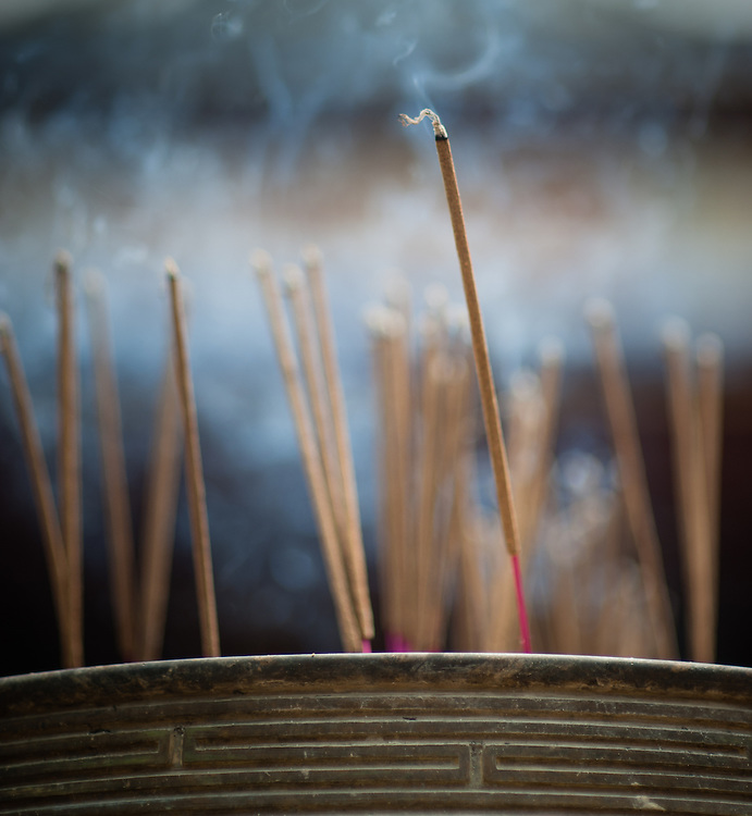 Incense sticks burning