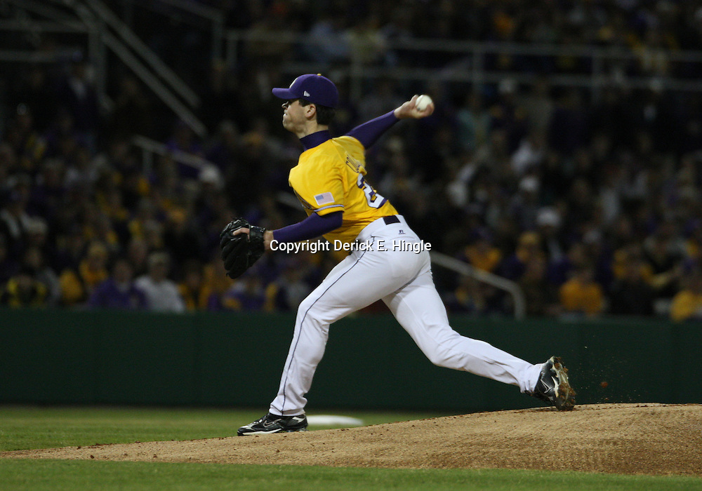 2009 February 20: LSU pitcher Louis Colman throws during a NCAA baseball match up between the #1 ranked LSU Tiger and the unranked Villanova Wilcats at the newly constructed Alex Box Stadium in Baton Rouge, Louisiana..