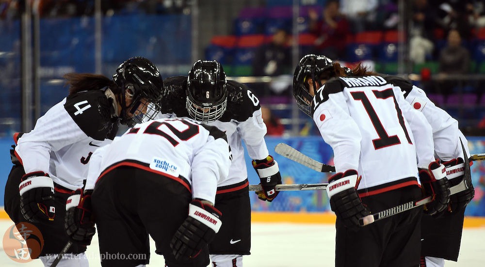Feb 16, 2014; Sochi, RUSSIA; Japan forward Yuka Hirano (17) takes a bow with teammates after scoring a goal against Russia in a women's ice hockey classifications round game during the Sochi 2014 Olympic Winter Games at Shayba Arena.