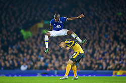 LIVERPOOL, ENGLAND - Tuesday, December 13, 2016: Everton's Enner Valencia in action against Arsenal's Granit Xhaka during the FA Premier League match at Goodison Park. (Pic by David Rawcliffe/Propaganda)