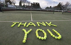 Tennis balls laid out at Dunblane Tennis Club in Andy Murray's home town, he has said he is aiming to end his career after Wimbledon but the Australian Open may be his last tournament.