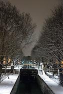 France. Paris,  11th district. Canal Saint martin and bridge  / Paris canal saint Martin
