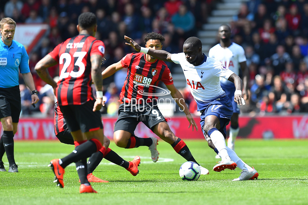 Moussa Sissoko (17) of Tottenham Hotspur is surrounded by Bournemouth players during the Premier League match between Bournemouth and Tottenham Hotspur at the Vitality Stadium, Bournemouth, England on 4 May 2019.
