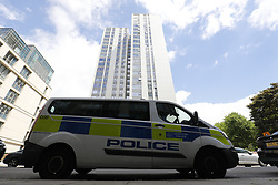 June 25, 2017 - London, London, UK - London, UK. Police officers patrol around Chalcots Estate tower blocks in Camden, London on Sunday, 25 June 2017. The Camden Council ordered the evacuation of the towers but there are many residents refusing to leave even though the cladding of the buildings failed the fire safety test. (Credit Image: © Tolga Akmen/London News Pictures via ZUMA Wire)