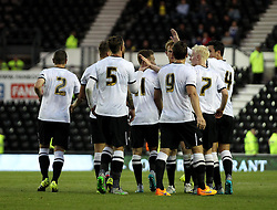 Derby County celebrate Derby County's Andreas Weimann's goal - Mandatory by-line: Robbie Stephenson/JMP - 07966386802 - 29/07/2015 - SPORT - FOOTBALL - Derby,England - iPro Stadium - Derby County v Villarreal CF - Pre-Season Friendly