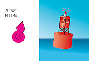 A vector illustration of a red flashing buoy symbol used on navigational charts.