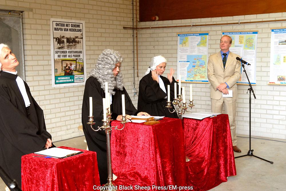 Opening Forten en Stellingenmaand in Fort Uitermeer in Weesp. Opening of the month of the dutch fortress in fortress Uitermeer in Weesp.<br /> <br /> Op de foto - On the photo;<br /> <br /> <br /> <br />  Prins Carlos de Bourbon de Parme ( zoon van Princes  Irene en broer van Margarita ) woont de opening van de fortenmaand bij en doet mee aan het locatietheater waar een rechtbank de voor en tegens van het behoud van forten en stellingen in nederland. Prince Carlos de Bourbon de Parme ( son of Princes  Irene en brother of Margarita ) attends the opening of the month of the dutch fortress, and has a part in a small play concerning the preservation of the dutch fortresses.