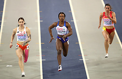 Great Britain's Kristal Awuah (centre) during the Women's 60m semi final during day two of the European Indoor Athletics Championships at the Emirates Arena, Glasgow.