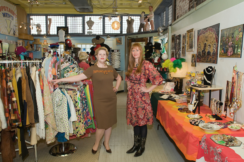 Store manager Amy Kumzler, left, and Terri Burt, owner of the Nitty Gritty, a vintage clothing & retro costume shoppe on Barrett Ave., photographed Wednesday, Mach 17, 2010 in Louisville, Ky. (Photo by Brian Bohannon)