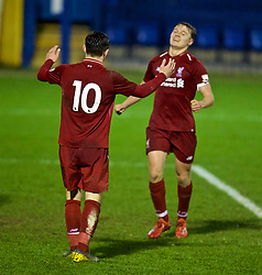 BURY, ENGLAND - Wednesday, March 6, 2019: Liverpool's Bobby Duncan (#10) celebrates scoring the fifth goal with team-mate captain Paul Glatzel during the FA Youth Cup Quarter-Final match between Bury FC and Liverpool FC at Gigg Lane. (Pic by David Rawcliffe/Propaganda)