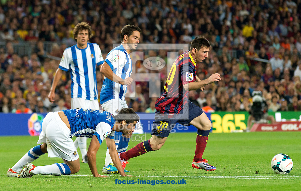 Picture by Cristian Trujillo/Focus Images Ltd +34 64958 5571<br /> 24/09/2013<br /> Lionel Messi of FC Barcelona trying to score during the La Liga match at Camp Nou, Barcelona.