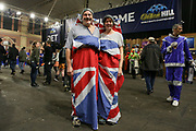Fans in Union Jack fancy dress during the 2019 William Hill World Darts Championship Final at Alexandra Palace, London, United Kingdom on 1 January 2019.