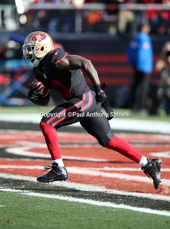 San Francisco 49ers wide receiver and kick returner Bruce Ellington (10) returns a first quarter kickoff from his own end zone during the 2015 week 12 regular season NFL football game against the Arizona Cardinals on Sunday, Nov. 29, 2015 in Santa Clara, Calif. The Cardinals won the game 19-13. (©Paul Anthony Spinelli)