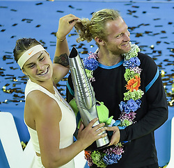 WUHAN, Sept. 29, 2018  Aryna Sabalenka (L) of Belarus poses with her coach during the trophy ceremony after winning the singles final match against Anett Kontaveit of Estonia at the 2018 WTA Wuhan Open tennis tournament in Wuhan, central China's Hubei Province, on Sept. 29, 2018. Aryna Sabalenka won 2-0 and claimed the title. (Credit Image: © Xue Yubin/Xinhua via ZUMA Wire)