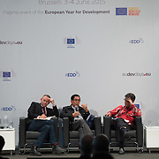 03 June 2015 - Belgium - Brussels - European Development Days - EDD - Inclusion - Social enterprise - Stemming the tide on income inequality - Peter Holbrook<br /> Chief Executive, Social Enterprise UK - Aung Tun Thet<br /> President's Economic Advisor, Myanmar and Senior Advisor, United Nations (UN) - Budiman Sudjatmiko<br /> Senior Member of Parliament, Indonesia © European Union