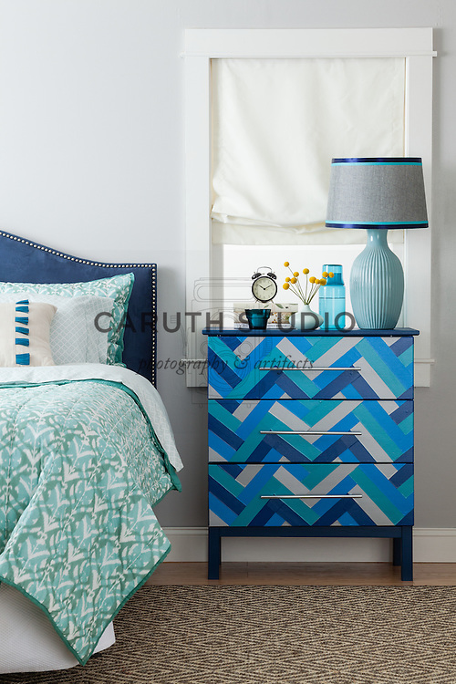 One Dresser Three Ways: Dresser with duct tape chevron pattern