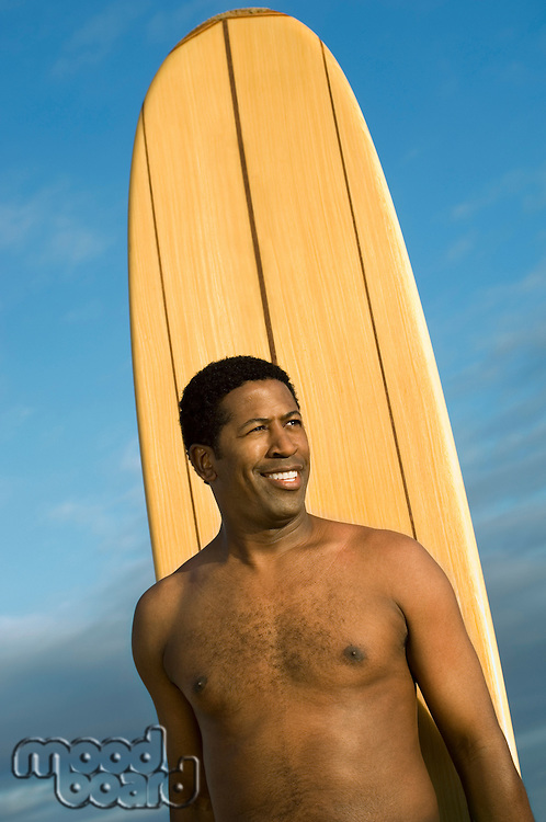 Man and Surfboard