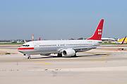 Israel, Ben-Gurion international Airport Privat Air (Lufthansa) Boeing 737 passenger plane ready for takeoff